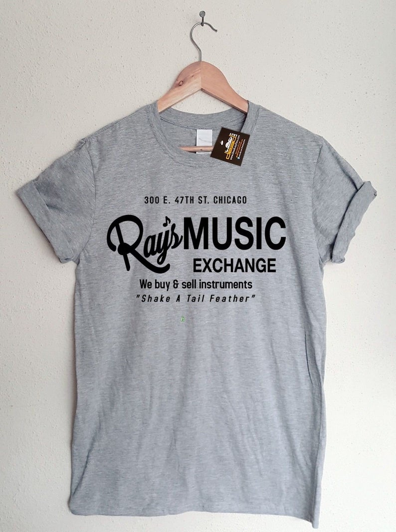 Blues brothers inspired rays music exchange t shirt 80s film t shirt tee mens ladies styles movie tshirts