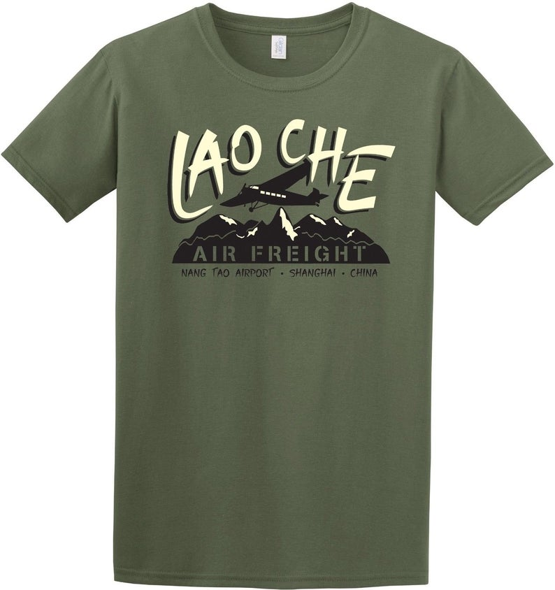 Indiana jones inspired lao che air freight mens t shirt top retro classic film movie tshirts