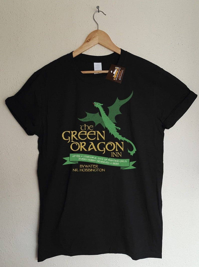 Lord of the rings and hobbit inspired green dragon inn tshirt  film and book  mens  ladies styles  movie tshirts