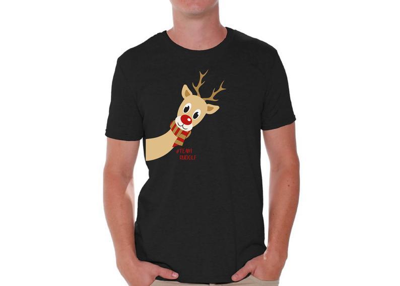 Ugly christmas shirts for men xmas rudolf team tshirt