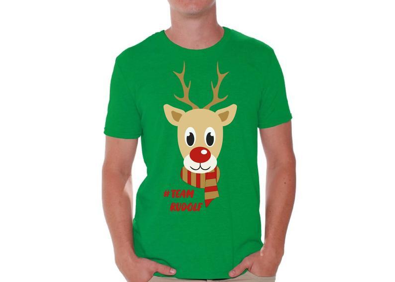Ugly christmas shirts for men xmas team rudolf tshirt