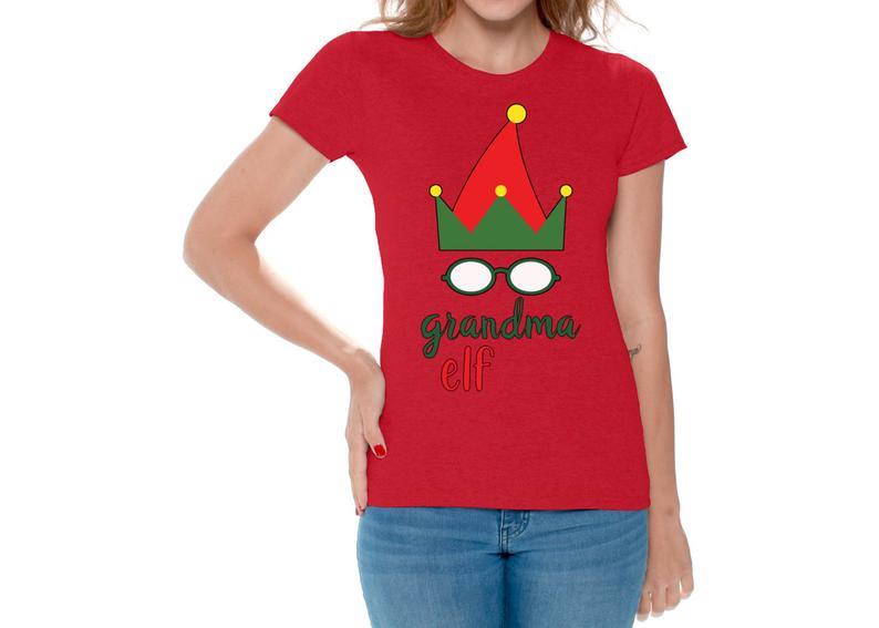 Ugly christmas shirts for women xmas elf grandma tshirt