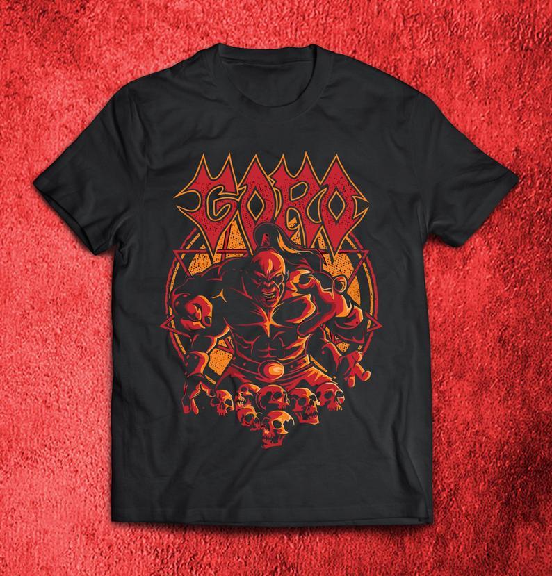 Goro mortal kombat boss shang tsung half dragon mens black tshirt