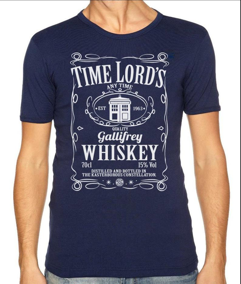 Mens dr who tshirt gallifrey mash up tee shirt time lord whiskey