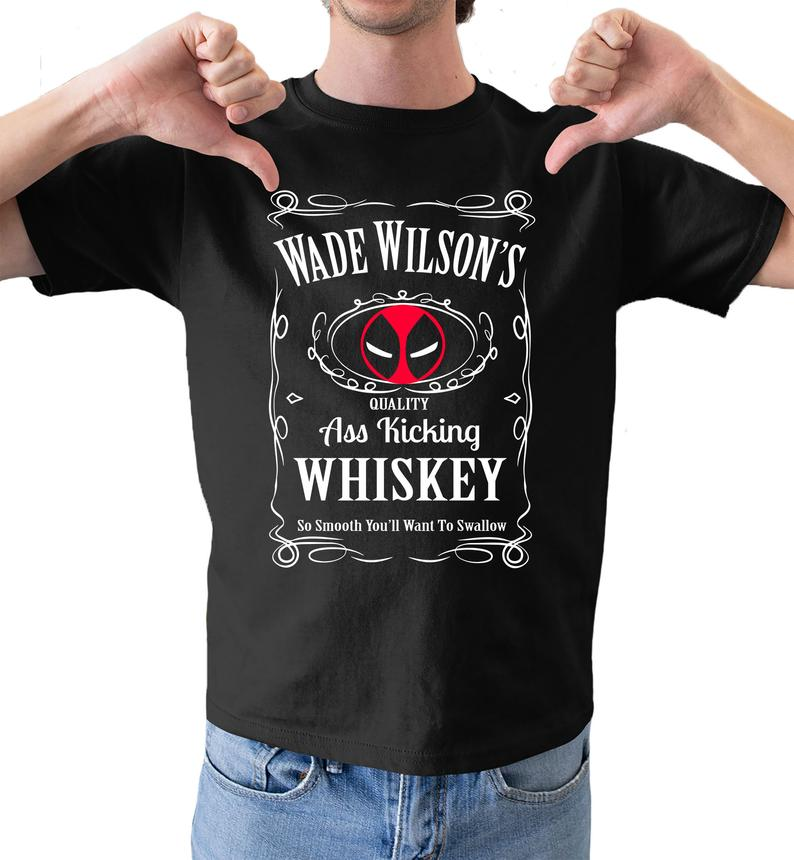 Wade wilsons whiskey dead pool inspired funny fathers gift mens comedy black tshirt